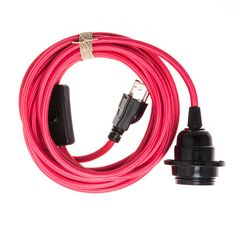 Pendant Light Cord (grounded plug) - Pink