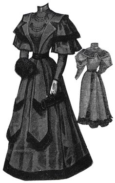 1894 Dress Trimmed w/Mongolian Lamb Fur