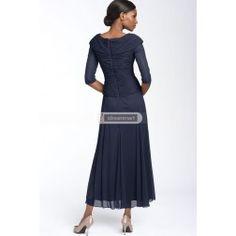 Dark Navy Chiffon V-neckline for Mother of the Bride Dress - $74.99