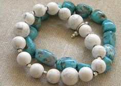 "DIY: Faux Stone Bracelets from Salt Dough Tutorial...I can't believe how real the ""turquoise"" bracelet looks. Great craft to do with your kids!"