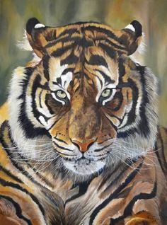 """""""Tigre de Sumatra"""" à la peinture à l'huile format 73x54cm. L'artiste du mois de septembre : rencontre avec Cindy Barillet, pastelliste animalier"""