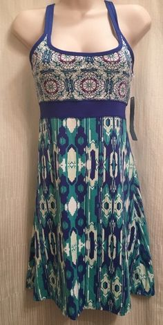 LOLA By AFG Dress Blue Green Athletic Yoga Built In Bra CS X-Small Stretch Light #LOLABYAFG #SkirtsSkortsDresses