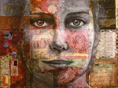 Time to Think-mixed media collage by Christine Peloquin Mixed Media Artists, Mixed Media Collage, Collage Art, Collage Portrait, Collage Ideas, Collages, Modern Portraits, Abstract Portrait, Abstract Art