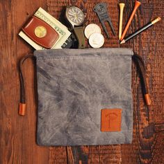 Waxed Canvas Golf Valuables Field Pouch in Sky Blue Pouch, Wallet, Waxed Canvas, Otter, Sewing, Golf, Fabric, Blue, American
