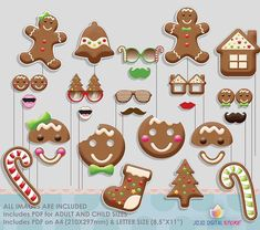 Christmas Cookie Gingerbread Party Photo Booth Props for