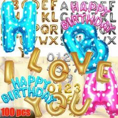 16/42  LETTER NUMBER WORD Letters Foil Balloon Birthday Wedding Party Supply lot