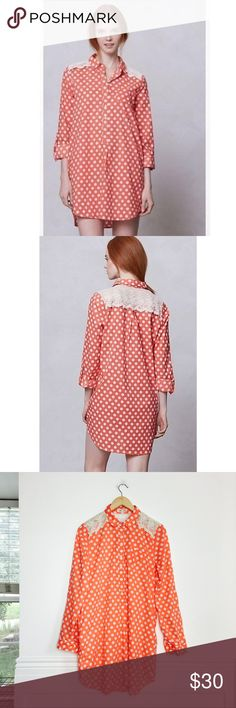Lili's Closet tunic Taylor Dots sleep shirt by Lili's Closet. Too cute to be worn as sleepwear, wear it as a tunic with skinny jeans and white sneakers. Red and white polka dot print with lace inserts at shoulders and back. Roll tab sleeves. Pockets. Cotton and polyester. Size M. Excellent condition. Anthropologie Tops Tunics