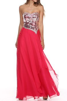 Catching Fire Strapless Chiffon Gown $288
