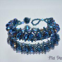 """Bracelet perle de cristal bleu métallique """"personnalisable"""""""