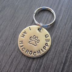 This I AM MICROCHIPPED Brass Dog Tag is a must have for your darling fur baby if your pup is microchipped. Add it to the tag your dog already has