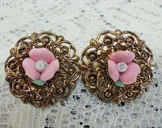 Vintage Post Earrings, Pale Pink Carved Porcelain Roses, Dark Golden Filigree, Pierced Ears