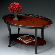 Have to have it. Butler Oval Cocktail Table - Traditional Red and Black $559.00