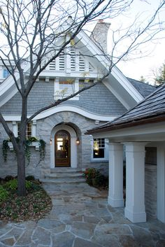 Gray shingle siding. Exterior Photos Shingles And Stone Design, Pictures, Remodel, Decor and Ideas
