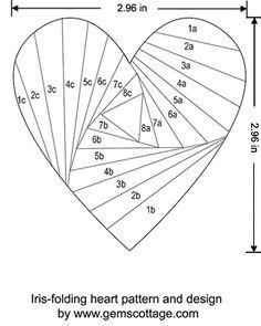 Heart Iris Folding Pattern Template