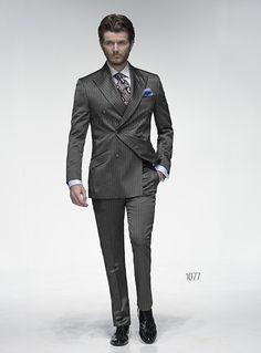 Abito sposo uomo doppiopetto in misto lana gessato grigio