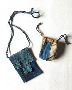 """""SASAKI-JIRUSHI"" Japanese boro patched small cases with Sashiko. Made by us Material:Japanese boro cotton Color:Faded indigo,dark indigo and more.…"""