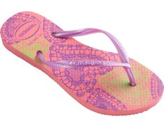The Slim Fashion features on-trend animal and lace prints on our signature textured footbed for fierce style and comfort. A tonal Havaianas logo on a slim matte or metallic strap finishes the look for your fashionable tween.  Thong style  Cushioned footbed with textured rice pattern and rubber flip flop sole  Made in Brazil