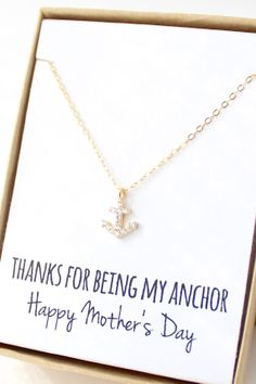 """Thanks for being my anchor, Happy Mother's Day"" Gold cubic zirconia anchor necklace by Powder & Jade"
