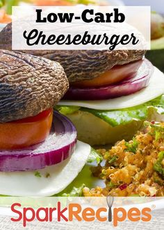 Healthy Low-Carb Cheeseburger!! Ooooh I love this idea! I'm a huge mushroom fan & usually add some chopped to my burger patties but this idea is divine & good for me! Definitely picking up some Portabellos next time I'm at the grocers.  | via @SparkPeople #lowcarb #cheeseburger #recipe