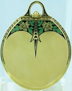 Yellow Gold Swiss Enamel Deco Style Doxa Pocket Watch - Swiss made circa white dial with painted black Breguet numerals. Rare oval shaped key less gentleman's dress watch. Fine green and black enamel work. The approximate diameter is and with the bow. Vintage Purses, Vintage Handbags, Vintage Watches, Vintage Brooches, Belle Epoque, Antique Jewelry, Vintage Jewelry, Antique Gold, Vintage Art