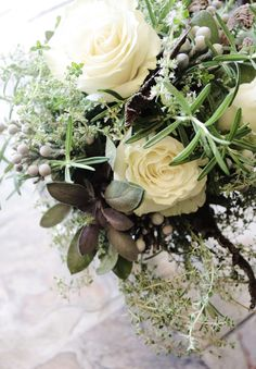 Bridal Bouquet with herbs, roses and willow