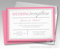 Modern Pink and Gray Wedding Reception Invitations