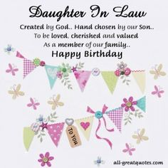 18 Best Daughter In Law Birthday Cards Images