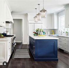 Navy Blue Kitchen Island in White Kitchen - Transitional - Kitchen Blue Kitchen Island, White Kitchen Cabinets, Kitchen Redo, Home Decor Kitchen, Country Kitchen, Kitchen Interior, Home Kitchens, Kitchen Remodel, Navy Kitchen
