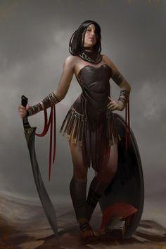 f Barbarian Leather Shield Sword jungle amazon