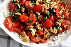 Tomato & Walnut Salad but ADD cucumber! Cold Vegetable Salads, Salad Recipes, Snack Recipes, Snacks, Veggie Delight, Walnut Salad, Cook Up A Storm, Food Obsession, Everyday Food