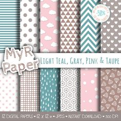 "Digital Paper Pack: ""Light Teal, Gray, Pink & Taupe"" dots, clouds, triangles, chevron, hearts, stars, drops, confetti, diamonds, hexagons.   50% OFF ON ORDERS OVER 12 $ (OR... #patterns #design #graphic #digitalpaper #scrapbooking"
