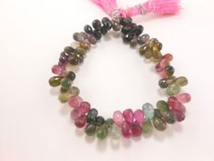 AAA-Natural-Multi-Tourmaline-Teardrop-Briolette-Faceted-Beads-8-Long-GT-1873