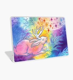 Jackalope of the Night Laptop Skin Macbook Pro Retina, Macbook Air, Surface Laptop, Laptop Decal, Laptop Skin, Night, Artwork, Color, Things To Sell