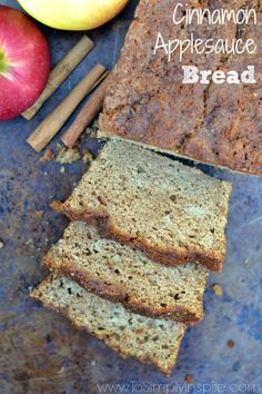 This Cinnamon Applesauce bread has been healthifiedwith a lot less sugar and added greek yogurt. It is so moist and delicious!