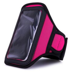 """VanGoddy Hot Pink Sweat Resistant Armband for LG G5 / V10 / Tribute HD / K Series (2017). Comfortable on the go sweat resistant neoprene armband keeps your device hand-free. Armband features small slip pocket for storing a house key. Adjustable Velcro strapping and extender piece offer a universal fit 