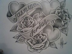 Jasmine Name Tattoo Designs Jordan and jasmine by juju- Rose Vine Tattoos, Rose Heart Tattoo, Skull Rose Tattoos, Simple Heart Tattoos, Body Art Tattoos, Gem Tattoo, Shape Tattoo, Music Tattoo Designs, Flower Tattoo Designs