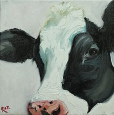 acorn and atlas Cow Pictures, Pictures To Paint, Cow Painting, Finger Painting, Barnyard Animals, Farm Art, Cow Art, Animal Paintings, Pet Portraits