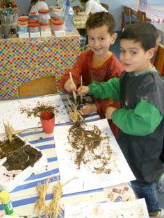 verven met stro en modder