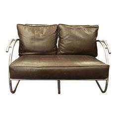 Chrome and Brown Leather Loveseat