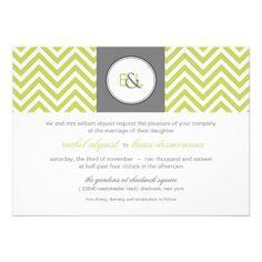 Modern monogram Chevron Wedding Announcement