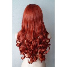 Copper Red Wig Long Curly Volume Hair Durable Heat Resistant Synthetic... (550 RON) ❤ liked on Polyvore featuring beauty products, haircare, hair styling tools and curly hair care