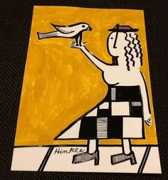 when she grows older  a purple hat she shall wear  and she shall feed birds #Art Deco #Painting  #ArtDeco #haiku #poem #artforsale #modernart #outsiderart