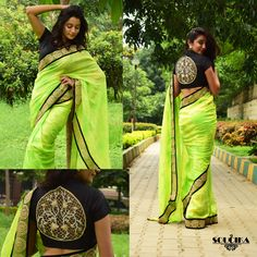 Lime green saree with black raw silk hand embroidered blouse #kamalrajmanickath #soucika #saree #fashion #saree #blouse #black #green