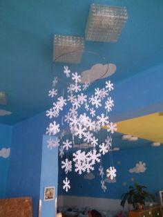 Handmade snowflake decor for my class