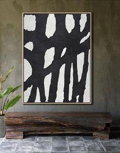 Hand painted Minimalist Painting on canvas #MN1B oversized black and white art canvas painting -  CZ ART DESIGN @CelineZiangArt
