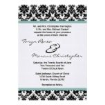 5x7 Black Damask Tiffany Blue Linen Wedding Invite