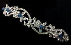Something Blue Floral Crown, Sapphire Blue Tiara, Crystal Tiara, Vine Tiara, Leaves Crown, Bridal Halo, ADORNA BLUE
