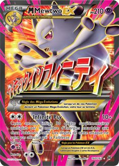 (C)(C) Psychic Infinity : This attack does 30 more damage times the amount of Energy attached to both Active Pokémon. This attack's damage isn't affected by Weakness. Cool Pokemon Cards, Rare Pokemon Cards, Pokemon Craft, Pokemon Trading Card, Mega Mewtwo, Mega Pokemon, Pokemon Fusion, Skylanders, Pokemon Cards Legendary