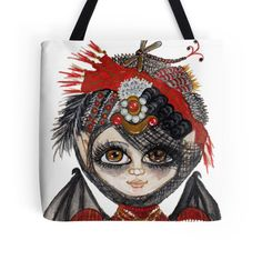Lucy Kate with Steampunk Party Hat Tote Bags