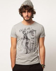Tshirt Homme Pin Up Sexy Gris